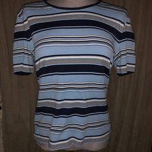 ESCADA blues Beach Ball stripe knit top L